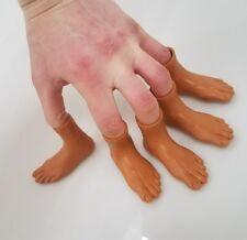 Set of 10 Rubber Finger Feet Mini Puppets Left & Right Dark Skin
