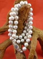 Graue Perlen Halskette mit 750 Weißgold und Saphiren