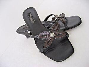Brighton Black Brown Mock Croc Leather Kelli Sandals 8 B M Italy EUC