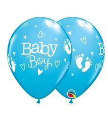 "Baby Boy Footprints 11"" Latex Balloons 25pk  Baby Shower Balloons"