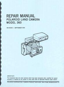 Polaroid Land Camera Model 360 & Electronic Flash Service Repair Manual Reprint