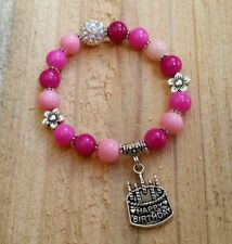 HAPPY BIRTHDAY Girls Ladies Pink Bead Bling Bracelet Flower Charm Gift Present