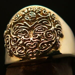Nicely crafted Mens Ring ancient ornamental Maya Inca Face