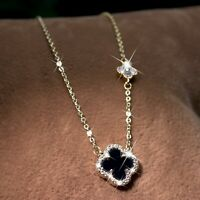 18k yellow gold made with Swarovski crystal black clover flower pendant necklace