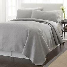 Chezmoi Collection Geometric Quilted Oversize Bedspread Coverlet Set Queen, Gray