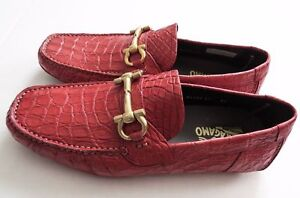 SALVATORE FERRAGAMO Coral Red Crocodile Leather Shoes Size 7 US 41 Euro 6 UK