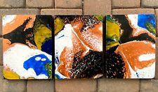 Acrylic Painting 3 Piece Set Of 9x12 Wood Panels Blue Yellow Copper Black White