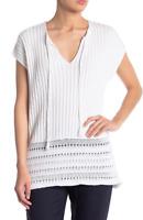 Kinross Cashmere Women's White Textured Knit Cap Sleeve COTTON Sweater SIZE XS