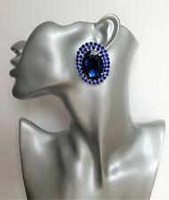 HUGE Oval Sapphire Blue Diamante CLIP ON Stud Drop Earrings in Silver Tone