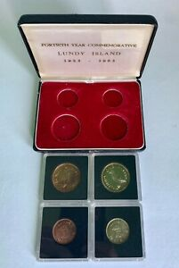1965 Lundy Island 4-Coin Proof Set Brass & Copper in Case