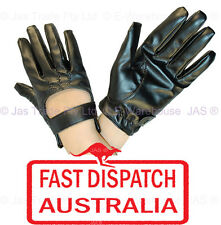 Punk Rock Goth Gothic Party Driving Gloves Man Made Leather Open Back Black