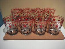 8 Vintage Poker Glasses Card Suits Old Schwartz's Mustard Jars lot 4