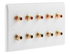 RCA x 10 Phono AV Audio Wall face plate Slimline White - SOLDER