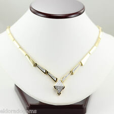 DESIGNER 3.00 CT. GENUINE DIAMOND STATIONARY NECKLACE SOLID 18K YELLOW GOLD 16""