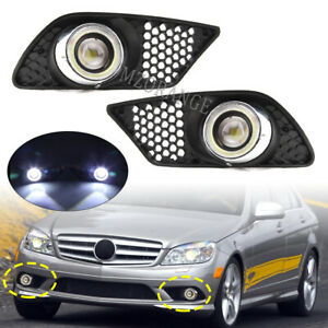 For 2008-2010 Mercedes Benz W204 AMG Angle Eyes Fog Light Lamps + Grille Covers
