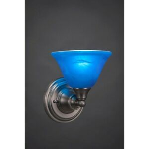 Toltec Lighting Wall Sconce, Brushed Nickel, 7' Blue Italian Glass - 40-BN-4155