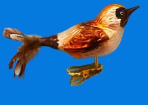 SPARROW FOREST BIRD GERMAN GLASS CHRISTMAS ORNAMENT CLIP ON VOGEL HAUSSPATZ 041