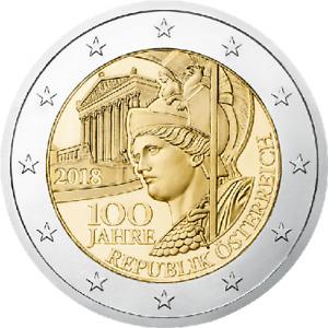 """AUSTRIA 2 euro 2018 """"100 years of Austia Republic"""" UNC BIMETALLIC"""