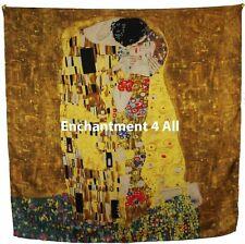 "Handmade 35""x35"" 100% Silk Art Scarf Wrap Handrolled Hems w/ Klimt's ""The Kiss"""