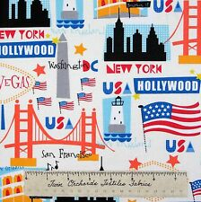 Patriotic Fabric - USA Flag City Names White - Timeless Treasures Cotton YARD