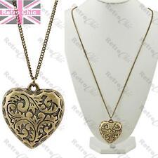 ORNATE BIG 5cm HEART pendant NECKLACE puffed VINTAGE BRASS antique bronze LONG