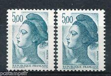 FRANCE  1982, variété de couleur LIBERTE, timbre 2190, 5 f. bleu, neufs**