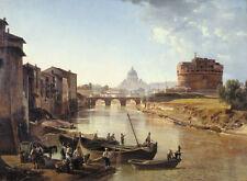 Shchedrin Veduta Tevere a Roma conCastel Sant'Angelo quadro olio tela dipinto