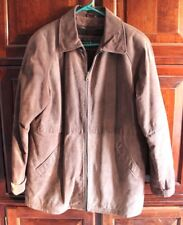 Mens Seventh Avenue Brown Leather Jacket Coat  Zipper Front Removable Lined EUC