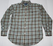 POLO Ralph Lauren green burgundy blue ivory plaid button down shirt boys M 10 12