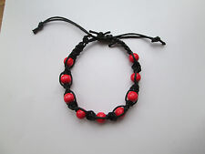 Handmade Shambala bracelet. Wooden bids. RED. Black cord