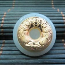 CERTIFIED 24K Gold GRADE A Hetian Jade Bless Pixiu Circle Pendant (Nephrite)