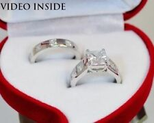 Princess White Gold Solitaire with Accents Engagement Fine Diamond Rings