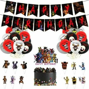 Five Nights at Freddy's FNAF Plate Banner Balloons Birthday Party Supplies Decor