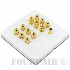 6 Speaker + 1 Subwoofer Wall Face Plate 6.1 Home Theater Surround Sound White