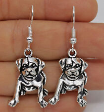 925 Silver Plated Hook - 1.7'' Cute Dog Animal Drop Lady Party Club Earrings #61