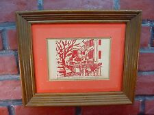 VINEYARD STREET Red Linocut FIRST EDITION PRINT Signed Marjorie Millen MASS MA