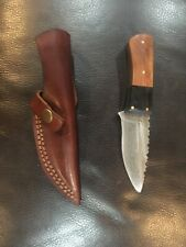 Custom handmade Damascus hunting knife with double stitched soft leather sheath