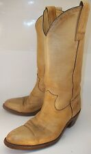 Vintage Frye 2308 Mens US 7.5D Beige Leather Pull On Casual Cowboy Western Boots