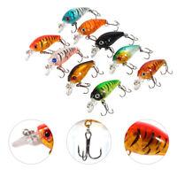 9pcs/bag Plastic Fishing Lures Hook Bass Small Fat Crankbait Tackle 4.5cm/4g