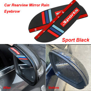 2X Universal Car Rear View Side Mirror Rain Board Eyebrow Guard Sun Visor Shade