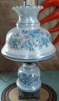 Vintage Hurricane Electric Lamp Painted w/Blue Floral 3 Way Switch Opalescent 💙