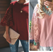3X NWT Boutique Blush Lace Sleeve Cotton Knit Sweater Blouse Women's Plus Size