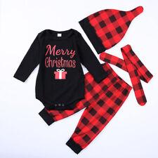 4pcs Newborn Infant Baby Boys Romper Bodysuit+Pants+hat Clothes Outfits Set