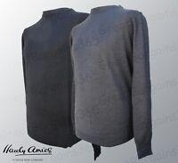 Mens Hardy Amies Saville Row Crew Neck Wool Jumper Sweater Grey Black S M L XL