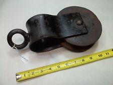 "Early Wooden Wheel Pulley Metal Hardware 4-5/8"" Diam. Wheel (Bottom of Groove)"