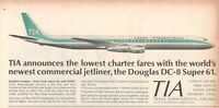 1967 Advertising' Vintage Tia Trans International Airlines Douglas DC-8 Super 61