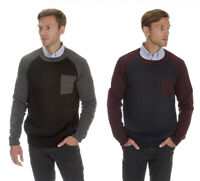 Mens Knitted Jumper Colour Block Sweater Crew Neck Winter Knitwear Warm Thick