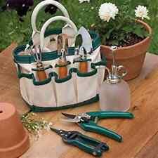 Indoor Canvas Metal Small Handy 8 Pocketed Garden Gardening Tool Set