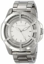 NEW-MARC ECKO SILVER ,THE SHOCK THREE HAND,STAINLESS STEEL WATCH-E13576G1