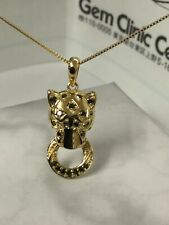 Beautiful Panther Necklace In Real 18k Yellow Gold, 0.150carats Natural Diamond